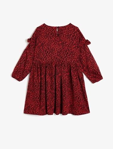 Koton Kids Desenli Elbise Kırmızı